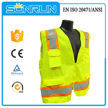 100% polyester Yellow chaleco reflectante safety vest with many pockets