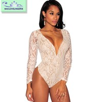 Maclove Wholesale Price New Arrival Sexy Lace Jumpsuit For Club