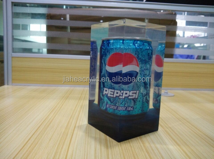 business promotion clear polyester resin can bottle Block gifts polyester resin paperweight