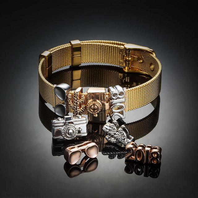 Custom Fashion Girl Women Charm Bracelet Wholesale Stainless Steel Jewelry Gold 18K Plated