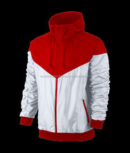 Mens custom polyester woven red and white mesh lining or microfleece lining sports jackets