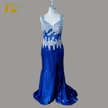 Plus Size Corset Bodice Slit Sequin Long Crystal Embellishments Sexy Prom Dress For Girls