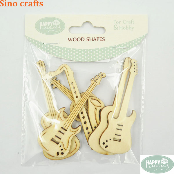 Guitar small wood crafts pieces laser cut flower wood decoration