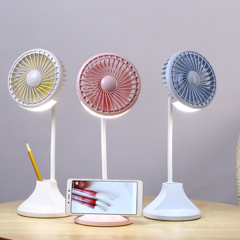 New product fox shape cheap 5v battery powered rechargeable desktop table mini usb portable fan with led light