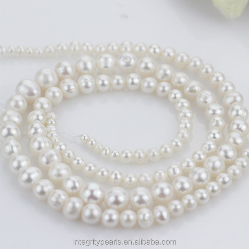 4-10mm AA grade white semi round fresh water graduated pearl strand wholesale