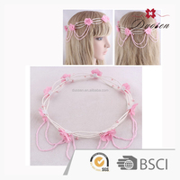 Fashion plastic pearl flower garland ,wedding silk petal garland