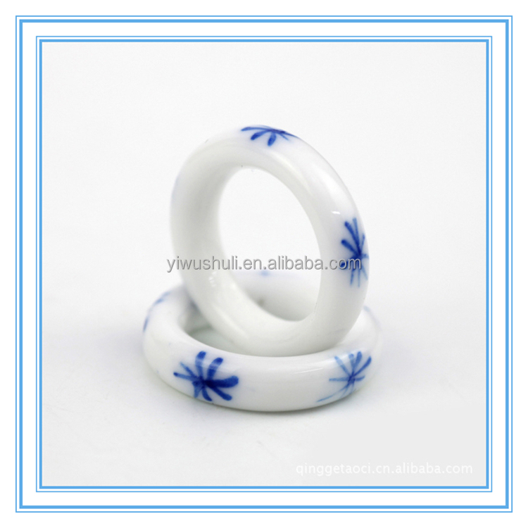 Jingdezhen blue and white ceramic decal handmade rings for women and men
