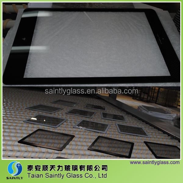4mm tempered cover glass for LCD screen with ISO,CCC(frame printed with black)