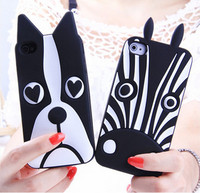 Zebra 3D soft silicone cartoon phone case for iPhone 5 6, for iPhone 6s cute dog cartoon case