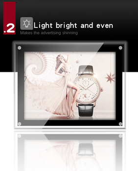 A4 size modern design  transparent acrylic frame led lighting advertising ad crystal light box