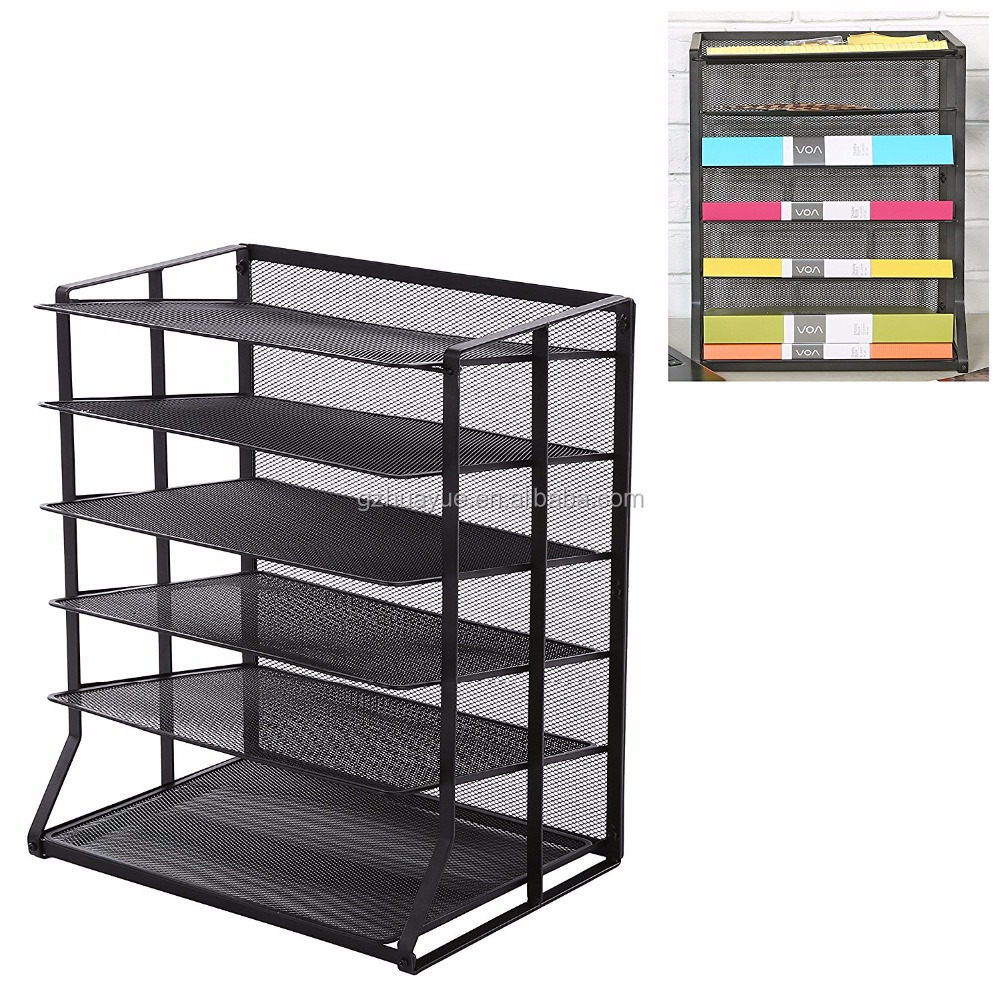 Hot sale & high quality 6 tier black metal wire mesh vertical trays document file holder office desktop sorter rack paper rack