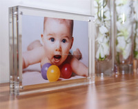 custom logo thick free standing plexiglass dual plate picture frame thick table magnetic acrylic photo block