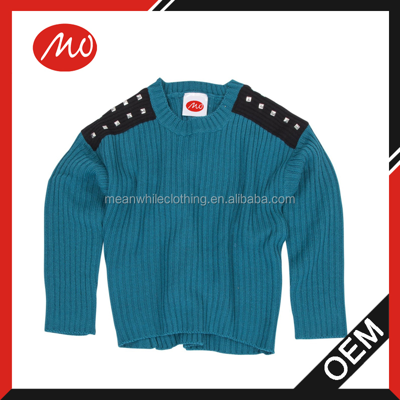 kids studded Shoulder wool Sweater designs for girl