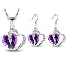 New jewelry designs purple crystal heart pendant necklace set with earring