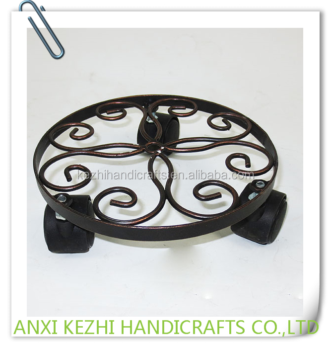 KZ150146 Antique Metal Pot Stand Indoor Flower Planter Stand with Wheels
