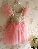 Hot sales wholesale girls party dresses solid pink sequin decorates princess dress