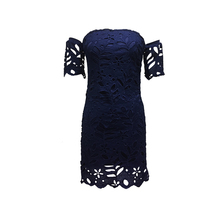 New Collection 100% Cotton Women Beautiful Cold Shoulder Short Sleeve Navy Blue 21st Birthday Party Cocktail Evening Lace Dress