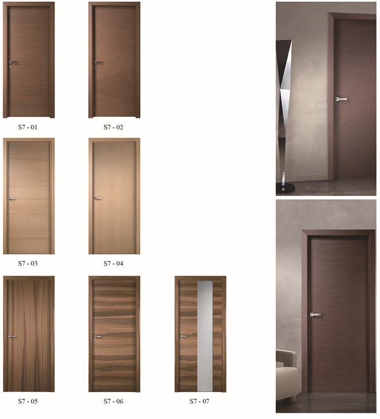 Forest bright interior modern walnut v groove flush door for Solid wood flush door