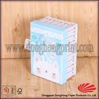 Decorative hinged lid paperboard baby blanket gift box