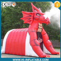 Giant entrance use dragon mascot inflatable tunnel for sport