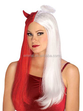 Devil Angel Cosplay Wigs Red Horn White Halo Dress Up Halloween Adult Costume Accessory W2067