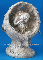 WHITE POLYSTONE CARVED ANGEL RELIEF SCULPTURE