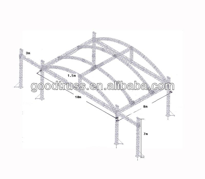 outdoor stage arch roof truss system with sound wings