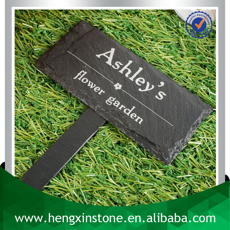 Factory Direct Price Handmade 10.5X7.5cm Decorative Natural Edge Black Oiled Slate Printed Plant Sign