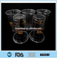 disposable food grade transparent PET plastic cups with lid