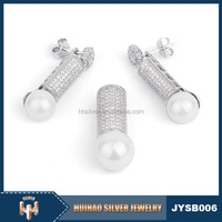 china bulk wholesale fine jewelry micro pave setting zircon 925 sterling silver earrings with pearl