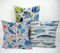 Custom made decorative marine life design sublimation pillow case