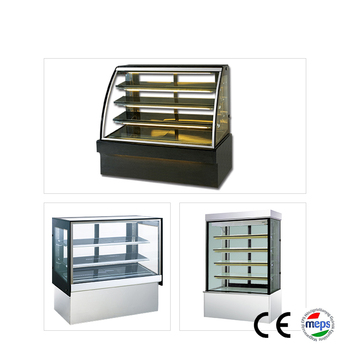 Commercial cake refrigerated curved glass display dessert counter refrigerator