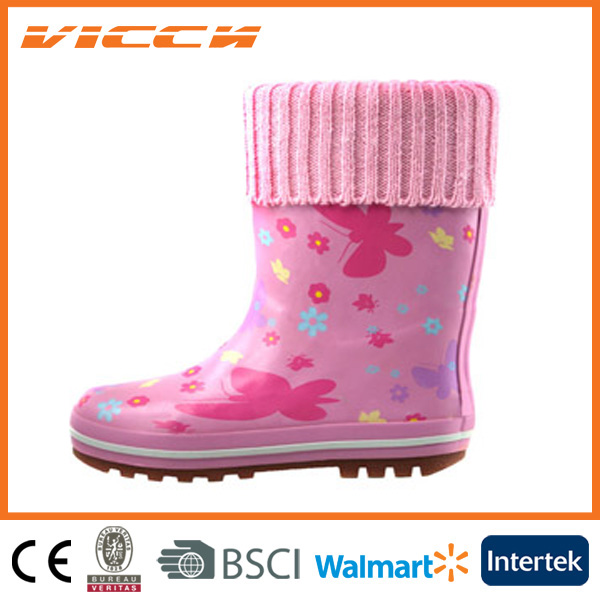 butterfly cheap rainbow korea cute kid rubber boots