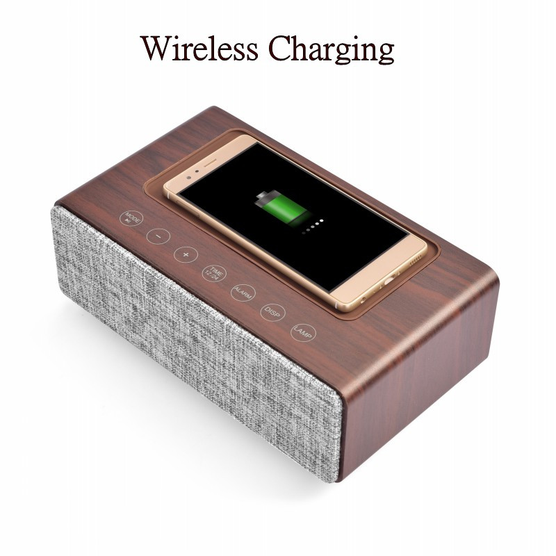 High End Quality Voice Bluetooth Speaker Wireless Charger Charging Pad for iphone charger for Samsung with night Lamp with Alarm
