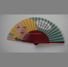 painted wooden folding fan for promotion