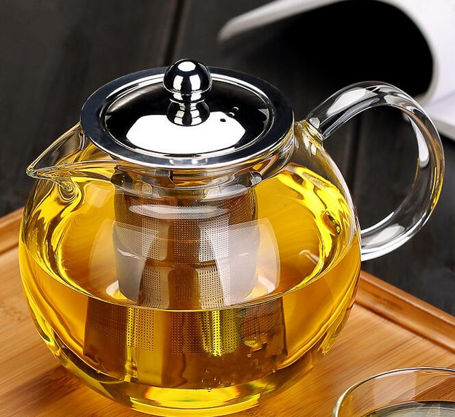 500ml Round Safe Glass Tea Brewer With Stainless Steel Infuser And Lid