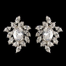 Rhodium Clear Oval & Marquise CZ Crystal Cluster Stud Earring Bridal Jewelry Earring