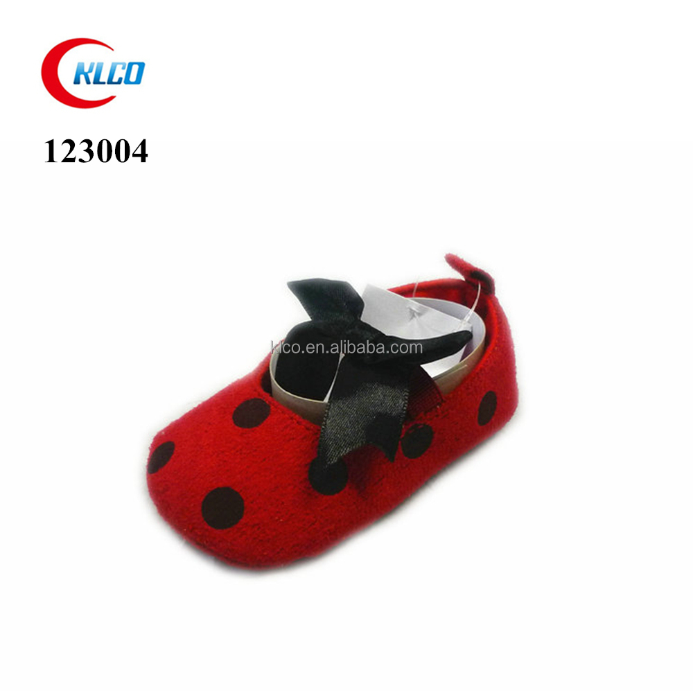 Red bottom suede cute bowknot winter newborn baby soft shoes