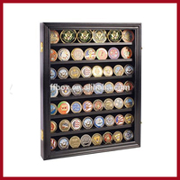 Military Challenge Coin Display Case Cabinet Rack Show Box