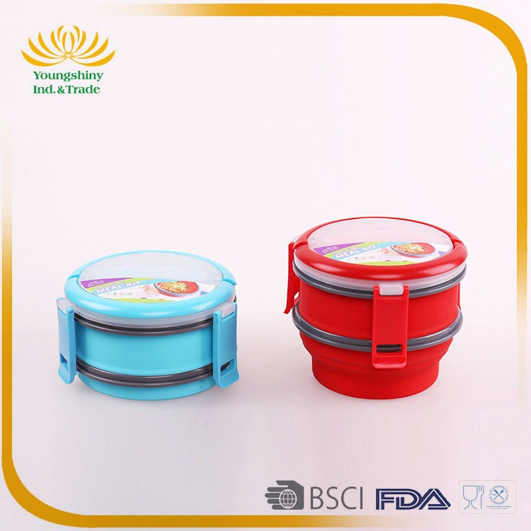 Popular silicone collapsible kids lunch box