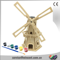 Kids Educational DIY Solar Energy Toys 3D Puzzle Wooden Windmill