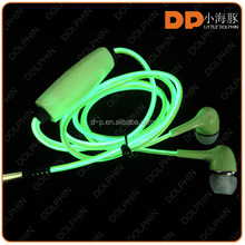 Latest design stereo quality metal EL glow earphone for MP3/ MP4