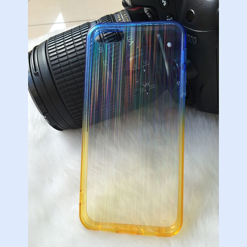 TPU bumper +hard sheet phone cover case for iphone6 rainbow case