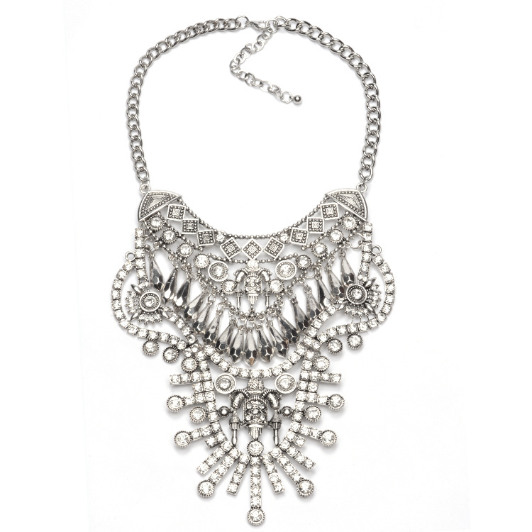 New arrival rhinestone gem alloy statement necklace jewelry for womens