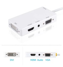 4-in-1 Mini Display Port to VGA/HDMI/DVI/Audio with Micro USB Port Adapter for Apple iMac/Laptop