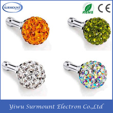 2015 Hot Selling Cute 3.5mm Diamond Phone Anti Dust Plug For samsung