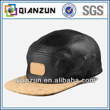 High quality custom leather 5 panel snapback cap