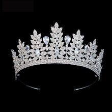 Echsio Newest Style Clear Crystal Princess Tiara For Women Girls Wedding Sparkling CZ Zirconia Crown Gift BC3816