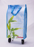 Printed pp woven foldable shopping trolley bag with pp webbing handle,with wheel