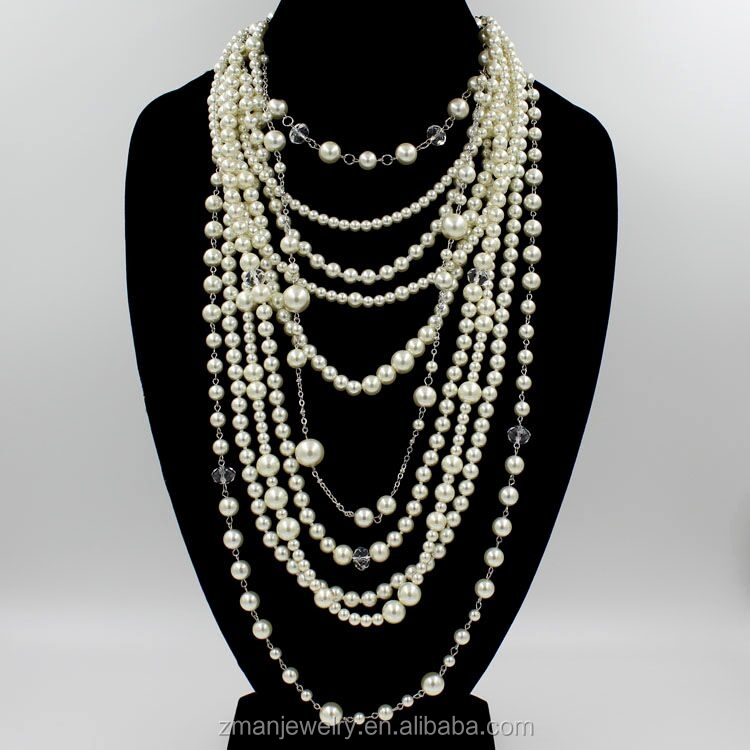2016 Fashion Bead Necklace Jewelry Latest Design Pearl Multi Strand Bead Necklace Long Style Necklace